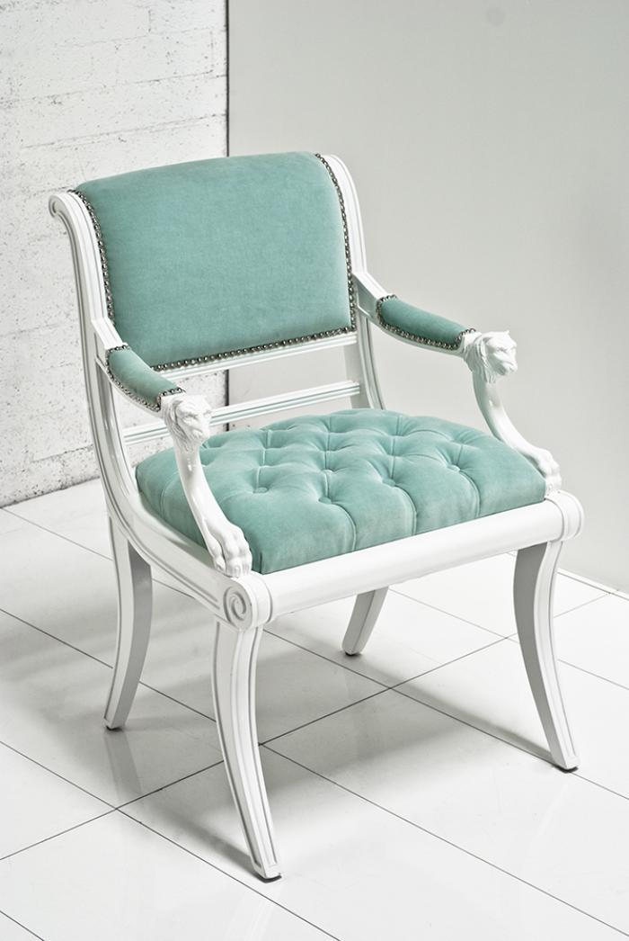 Superieur Edward Chair In Aqua Velvet