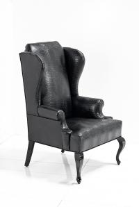 Brixton Wing Chair in Black Croc Leather