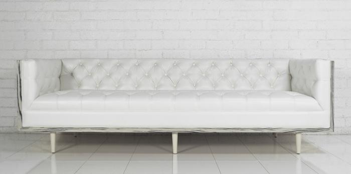 koenig sofa in faux white leather. Black Bedroom Furniture Sets. Home Design Ideas