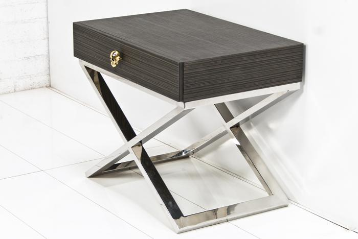 Lovely Boca Side Table In Dark Grey Rift Oak