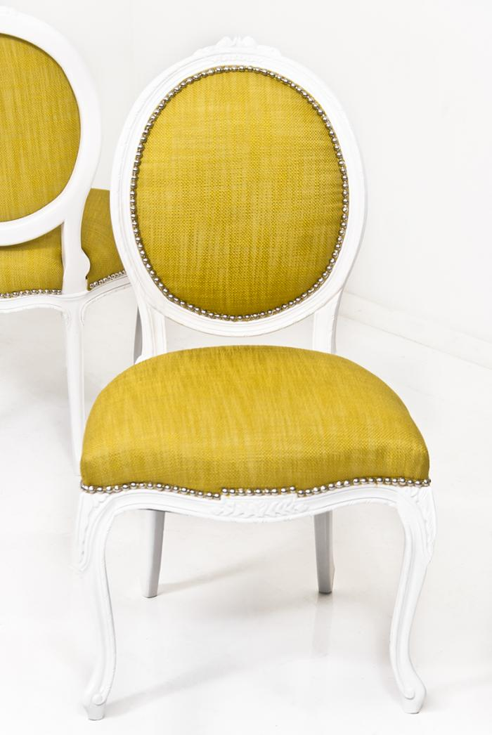 Victoria Dining Chair In Yellow Linen