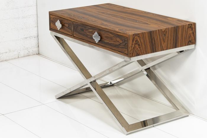 Oversized Boca Two Drawer Side Table in Rosewood