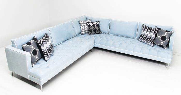 Down With Love Sectional in Capri Suede