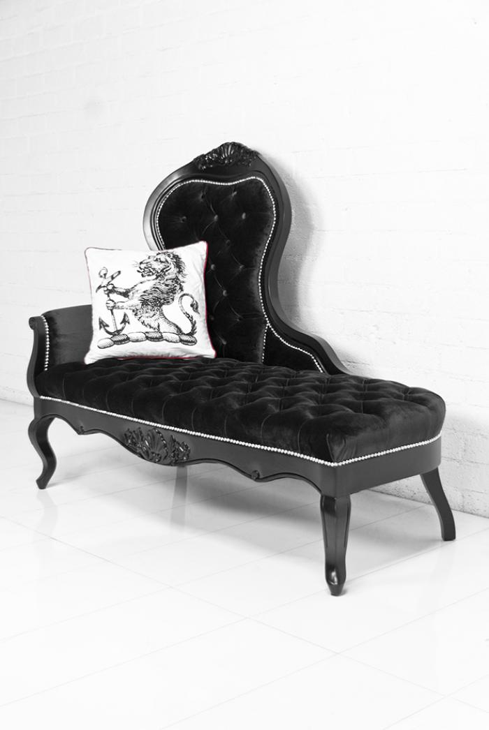 Riviera chaise lounge in for Black velvet chaise lounge