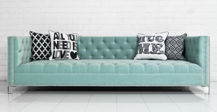 new deep sofa in regal spa blue velvet