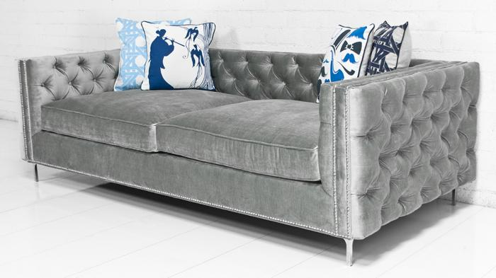 Inside Out New Deep Sofa In Bristol Elephant Grey Velvet