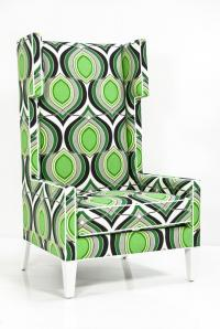 Tangier Wing Chair in Green Floral Damask