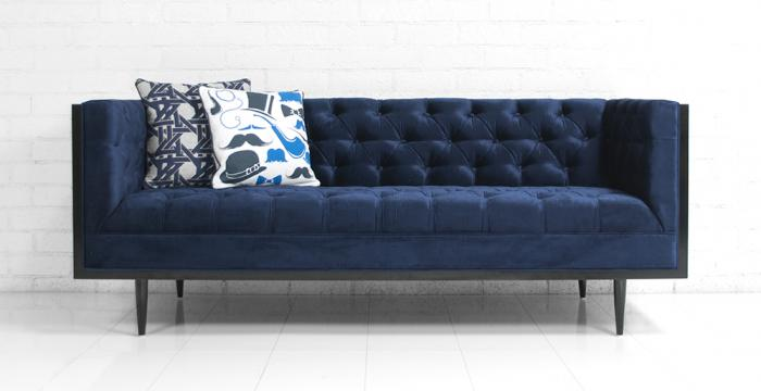 koenig sofa in majestic navy velvet. Black Bedroom Furniture Sets. Home Design Ideas