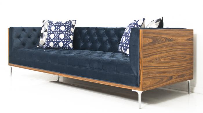 koenig rosewood sofa in navy velvet. Black Bedroom Furniture Sets. Home Design Ideas