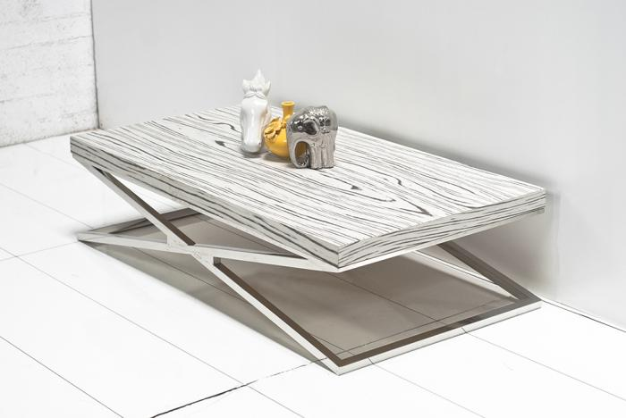 www.roomservicestore - white macassar x leg coffee table