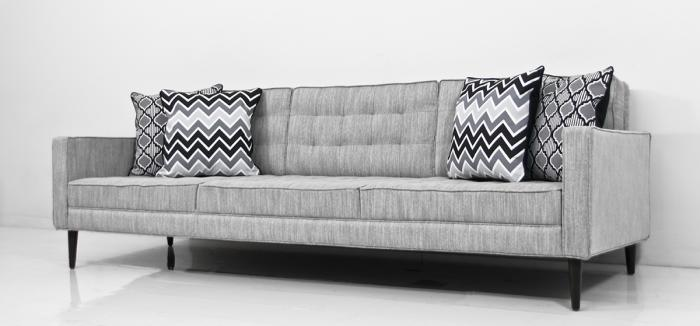 Mid Century Sofa in Grey Tweed