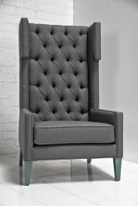 Tangier Wing Chair in Charcoal Tweed