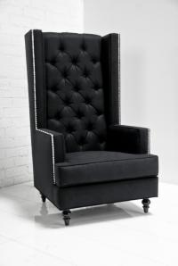 Tall Boy Modern Wing Chair in Black Tweed