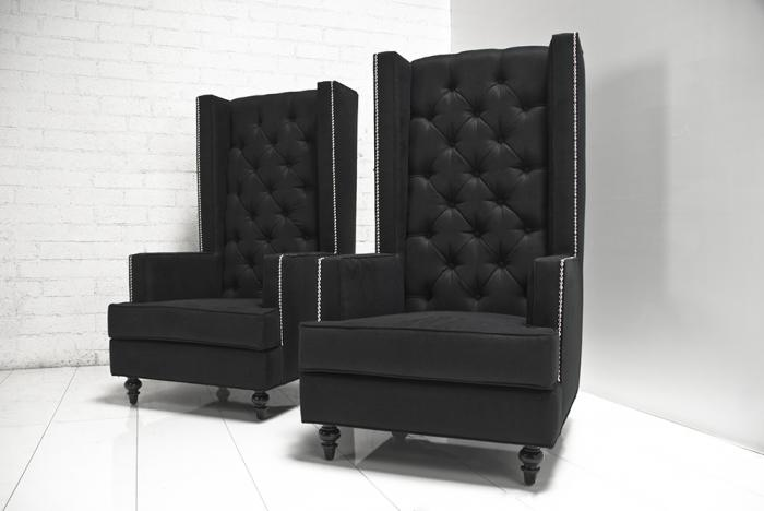 Tall Boy Modern Wing Chair In Black Tweed. Please Visit The New ModShop  Website Modshop1.com To Order Any Of Our Products, Thank You.