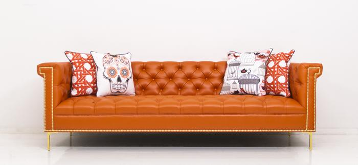 Www.Roomservicestore.Com - Sinatra Sofa In Hermes Orange Faux Leather