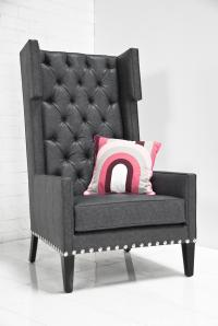 Tangier Wing Chair in Charcoal Fuax Lizard Leather