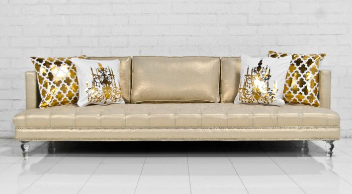 Down With Love Sofa In Gold Trophy Linen