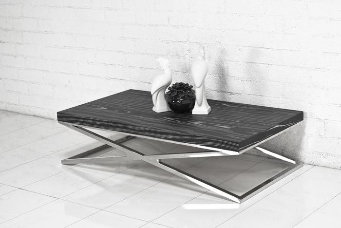 Black Macassar Chrome X Leg Coffee Table