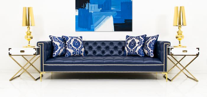 Www Roomservicestore Com Sinatra Sofa In Navy Faux Leather