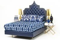 The Casbah Bed in Navy Faux Leather