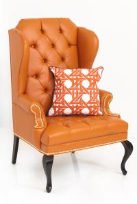 Brixton Wing Chair in Hermes Orange Faux Leather