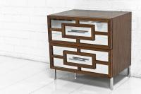 St. Tropez Mirrored Walnut Side Table