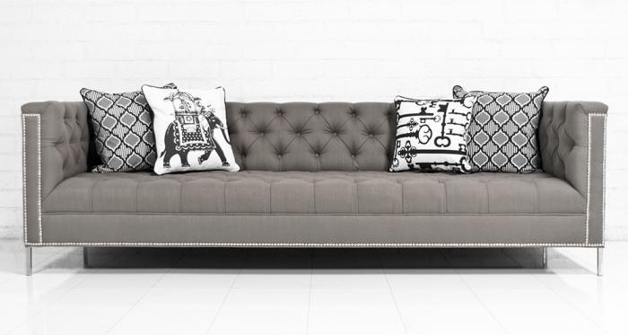 Hollywood Sofa In Textured Grey Linen