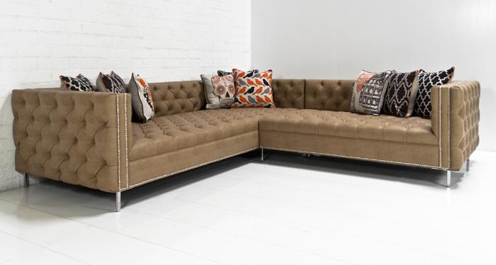 New Deep Inside Out Sectional in Caramel Faux Leather : faux leather sectional - Sectionals, Sofas & Couches