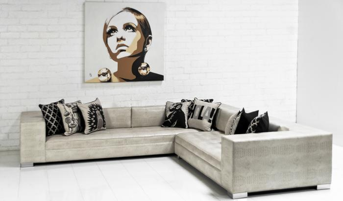 Fatboy Sectional in Neutral Embossed Faux Croc