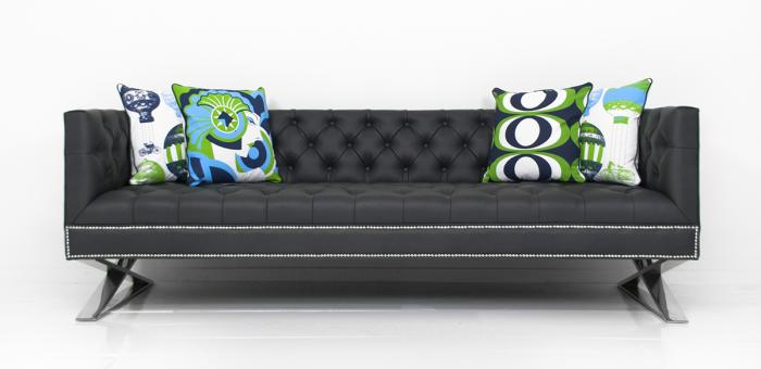Brooklyn Sofa In Charcoal Faux Leather