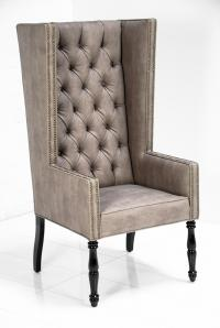 Ultra Tall Mod Wing Dining Chair in Faux Beige Leather