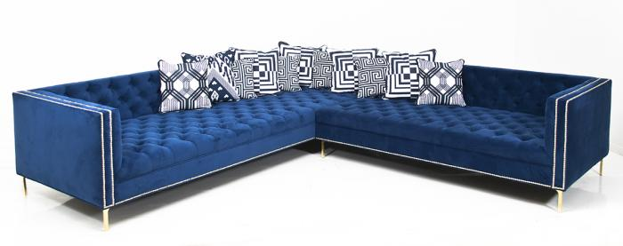 New Deep Sectional in Cobalt Velvet