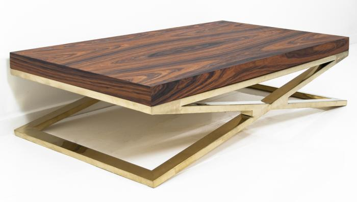 Rosewood Fat Brass X-Leg Coffee Table