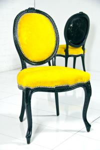 Victoria Dining Chair in Yellow Cowhide