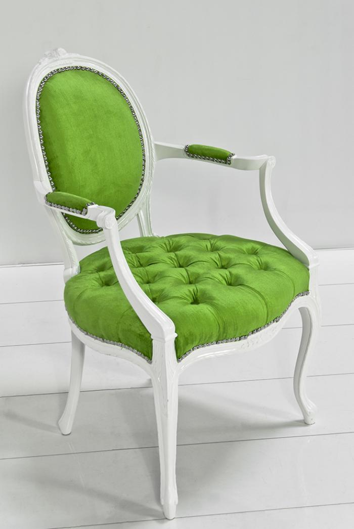 Victoria Dining Arm Chair In Green Velvet