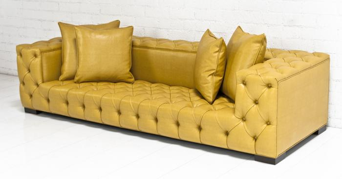 Beau Tufted Fat Boy Sofa In Gold Faux Leather