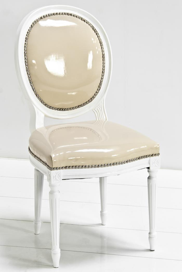 Louis Dining Chair in Vanilla Faux Patent Leather