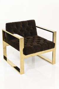 Brass Kube Chair in Chocolate Velvet