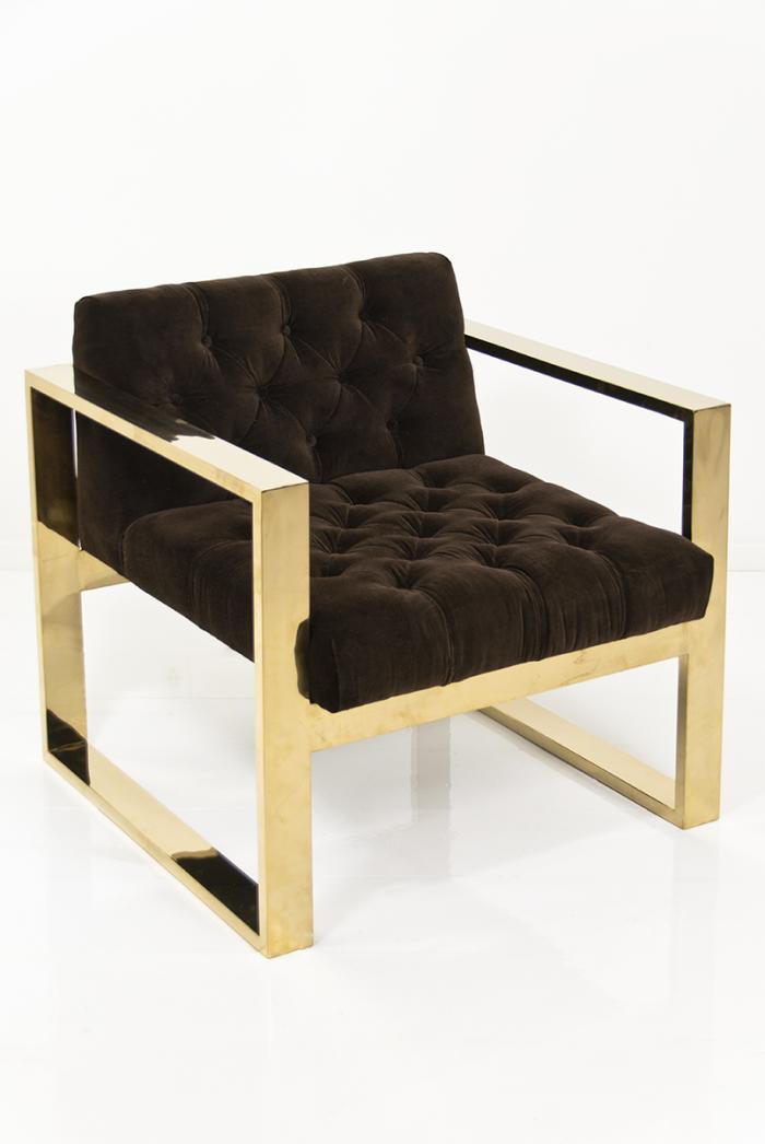 Brass Kube Chair In Chocolate Velvet