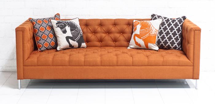 Hollywood Sofa In Textured Orange Fabric