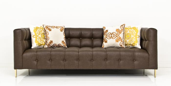 Delano Sofa In Stingray Dark Brown Faux Leather Part 70