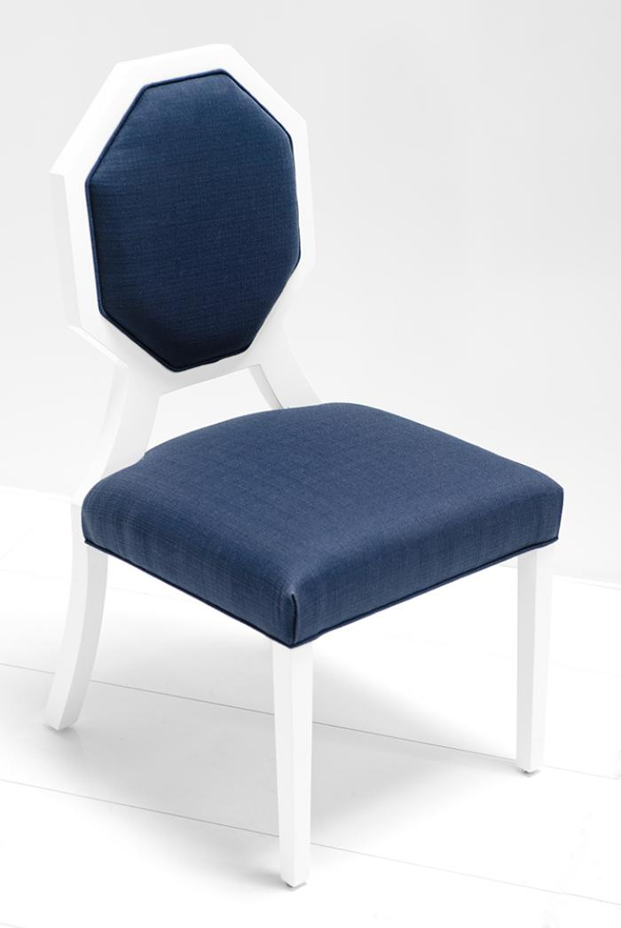 www roomservicestore octagon dining chair in navy linen