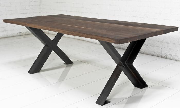 industrial solid walnut slab table. Black Bedroom Furniture Sets. Home Design Ideas