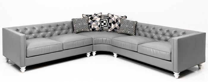 Hollywood Curved Sectional In Grey Faux, Fake Leather Curved Sectional Sofa