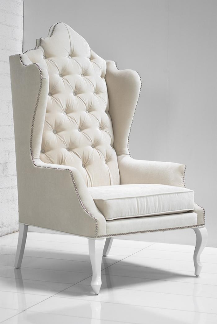 Casablanca wing chair in off for White chair