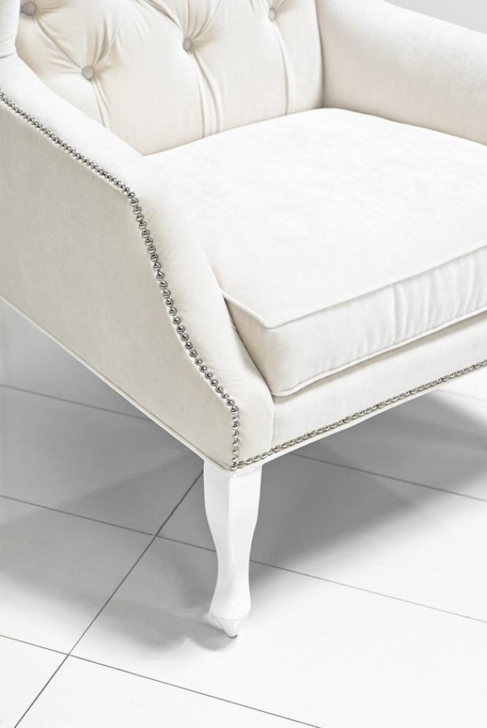 Casablanca Wing Chair In Off White Velvet