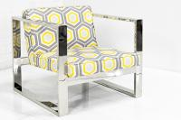 Fat-U-Leg Chair in Yellow Octagon Linen