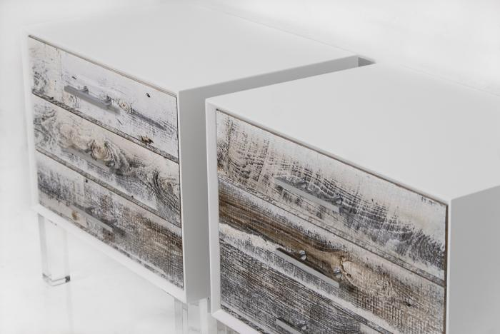 Cody Side Table In Recycled White Washed Wood