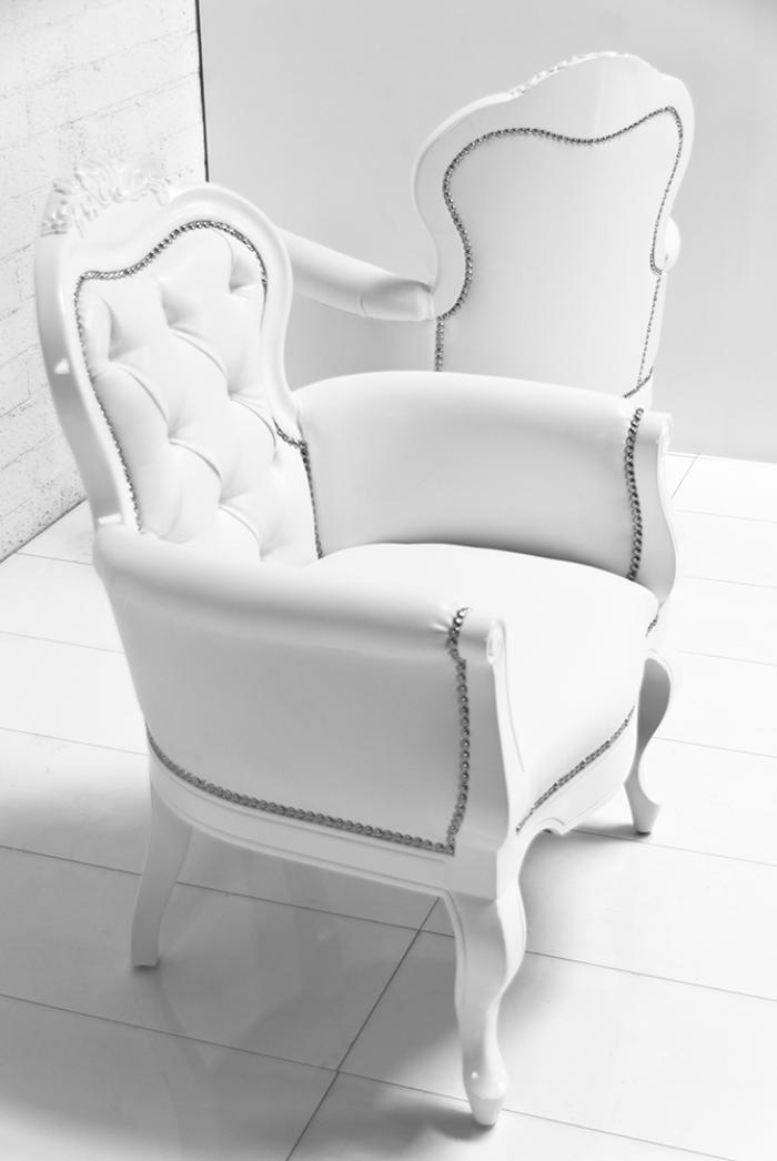 Cannes Chair In White Faux Leather