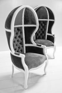 Balloon Chair in Charcoal Velvet